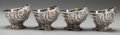 Silver Holloware, Continental, A SET OF FOUR SILVER-PLATE AND GILT SHELL-FORM OPEN SALTS, 20thcentury. 2-3/8 x 4 x 3 inches (6.0 x 10.2 x 7.6 cm). ... (Total: 4Items)