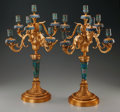 Decorative Arts, French, A PAIR OF LOUIS XV-STYLE GILT BRONZE AND CLOISONNÉ SEVEN-LIGHTCANDELABRA. 23-7/8 inches high (60.6 cm). ... (Total: 2 Items)