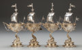 Silver Holloware, Continental:Holloware, A SET OF FOUR J.D. SCHLEISSNER & SÖHNE SILVER GILT NEF FORMOPEN SALTS, Hanau, Germany, circa 1890. Marks: (crescent, crown)...(Total: 4 Items)