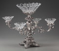 Silver Holloware, British, AN ENGLISH SILVER-PLATED AND CUT-GLASS EPERGNE, circa 1900. 18 x 22x 22 inches (45.7 x 55.9 x 55.9 cm). PROPERTY FROM A C... (Total:10 Items)