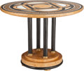 Furniture : Continental, A NEOCLASSICAL MARBLE SPECIMEN AND EBONIZED WOOD TABLE, 20thcentury. 33-1/4 inches high x 45 inches diameter (84.5 x 114.3 ...