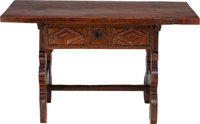 A SMALL SPANISH RENAISSANCE-STYLE OAK SINGLE-DRAWER TRESTLE TABLE, 18th century and later 23-1/2 x 39-1/2 x 20 inc