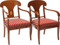 Furniture , A PAIR OF BIEDERMEIER-STYLE UPHOLSTERED WALNUT AND INLAID FRUITWOOD ARMCHAIRS, circa 1900. 36-1/4 x 23-3/8 x 20 inches (92.1... (Total: 2 Items)