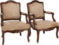 Furniture , A PAIR OF FRENCH PROVINCIAL SUEDE UPHOLSTERED WALNUT FAUTEUILS, late 18th century. 35-1/2 x 25-1/2 x 21 inches (90.2 x 64.8 ... (Total: 2 Items)