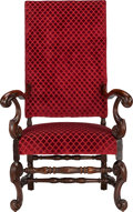 Furniture : Continental, A BAROQUE-STYLE UPHOLSTERED WALNUT ARMCHAIR, late 19th century. 52x 30-1/2 x 30 inches (132.1 x 77.5 x 76.2 cm). ...