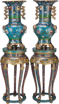 A MONUMENTAL PAIR OF CHINESE CLOISONNÉ URNS ON STANDS 65-1/4 inches high (165.7 cm) (including stand)