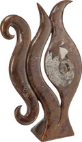 Decorative Arts, Continental, A Carved Goniatites Sculpture with Integrated Stand, Morocco.32-1/8 inches high x 21-1/4 inches wide x 9 inches deep (81.6 ...