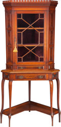 Furniture , AN EDWARDIAN OAK CORNER BOOKCASE CABINET, circa 1900. 83-1/2 x 42 x 29 inches (212.1 x 106.7 x 73.7 cm). PROPERTY FROM THE...