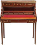 Furniture , A FRENCH NEOCLASSICAL MAHOGANY AND GILT BRONZE MECHANICAL ROLL-TOP WRITING DESK WITH ROUGE MARBLE TOP, 19th century. 42-1/4 ...