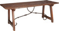 Furniture , A SPANISH PROVENCAL OAK AND WROUGHT IRON TRESTLE TABLE, 18th century and later. 30-3/4 x 79 x 31 inches (78.1 x 200.7 x 78.7...