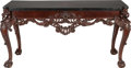 Furniture , AN IRISH GEORGE II-STYLE CARVED MAHOGANY CONSOLE TABLE WITH INLAID MARBLE TOP, late 19th century. 36-1/2 x 71-1/4 x 26 inche...