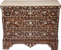 Furniture : Continental, A SYRIAN INLAID MOTHER-OF-PEARL, SILVER, BONE AND OAK COMMODE WITHA MARBLE TOP, 19th century. 36-1/2 x 44-1/2 x 19-1/2 inch...(Total: 2 Items)