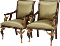 Furniture , A PAIR OF EMPIRE-STYLE UPHOLSTERED MAHOGANY FAUTEUILS WITH GILT BRONZE MOUNTS, second half 20th century. 40-1/2 x 27 x 25 in... (Total: 2 Items)