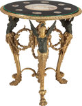 Furniture, AN EMPIRE-STYLE GILT AND PATINATED BRONZE TABLE WITH A MICRO MOSAIC TOP DEPICTING NINE ROMAN MONUMENTS, late 19th century. 3... (Total: 2 Items)