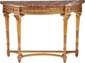 Furniture : French, A LOUIS XVI-STYLE GILTWOOD CONSOLE TABLE WITH MARBLE TOP, late 19thcentury. 39 x 53-1/8 x 17-1/2 inches (99.1 x 134.9 x 44.... (Total:2 Items)