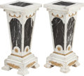 Furniture , A PAIR OF MARBLE PEDESTALS WITH GILT BRONZE MOUNTS, late 19th century. 33 x 14 x 14 inches (83.8 x 35.6 x 35.6 cm). ... (Total: 2 Items)
