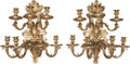Decorative Arts, French:Lamps & Lighting, A PAIR OF FRENCH GILT BRONZE SEVEN-LIGHT SCONCES, late 19thcentury. 20-1/2 inches high (52.1 cm). ... (Total: 2 Items)