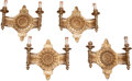 Decorative Arts, French, FOUR GILT BRONZE TWO-LIGHT WALL SCONCES, 20th century. 13 x 14 x6-1/2 inches (33.0 x 35.6 x 16.5 cm). ... (Total: 4 Items)