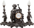 Timepieces:Clocks, A THREE PIECE LOUIS XV-STYLE PATINATED BRONZE AND GLASS CLOCK GARNITURE, late 19th century. 26 x 22 x 11 inches (66.0 x 55.9... (Total: 3 Items)