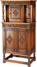 Furniture , AN AMERICAN JACOBEAN-STYLE WALNUT CUPBOARD, late 19th century. 56 x 28 x 17-1/2 inches (142.2 x 71.1 x 44.5 cm). ...