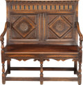Furniture , AN AMERICAN JACOBEAN-STYLE WALNUT SETTEE WITH LEATHER CUSHION, 19th century. 43 x 41-1/2 x 24 inches (109.2 x 105.4 x 61.0 c...