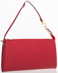 "Luxury Accessories:Bags, Louis Vuitton Red Epi Leather Pochette Bag. ExcellentCondition. 9.5"" Width x 5"" Height x .5"" Depth. ..."