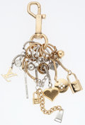 "Luxury Accessories:Accessories, Louis Vuitton Gold & Silver Charm Keychain. Good to Very Good Condition. 8"" Length. ..."