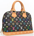 "Luxury Accessories:Bags, Louis Vuitton Black Multicolore Monogram Canvas Alma PM Bag .Good to Very Good Condition . 12"" Width x 9"" Height x6""..."