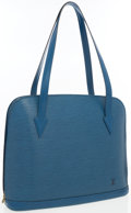 """Luxury Accessories:Bags, Louis Vuitton Blue Epi Leather Lussac Bag. Good to Very GoodCondition. 15"""" Width x 12"""" Height x 4"""" Depth, 10""""Shoulde..."""