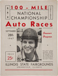Miscellaneous Collectibles:General, 1947 Illinois State Fairgrounds 100-Mile National ChampionshipProgram....