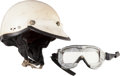 Miscellaneous Collectibles:General, 1960 Bobby Grim Race Worn Helmet with Goggles & Chinstrap. ...