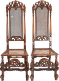 Furniture : English, A PAIR OF JACOBEAN-STYLE MAHOGANY HALL CHAIRS WITH CANING, 20th century. 53-1/4 x 18-1/4 x 16 inches (135.3 x 46.4 x 40.6 cm... (Total: 2 Items)