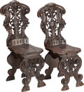 Furniture , A PAIR OF RENAISSANCE REVIVAL WALNUT HALL CHAIRS, late 19th century. 37 x 15-1/2 x 16-1/2 inches (94.0 x 39.4 x 41.9 cm). ... (Total: 2 Items)