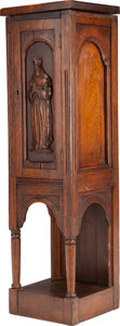 Furniture , A GOTHIC REVIVAL OAK PEDESTAL CABINET, mid 19th century. 44 x 12-1/4 x 12-1/8 inches (111.8 x 31.1 x 30.8 cm). PROPERTY FR...