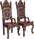 Furniture , A PAIR OF GOTHIC REVIVAL LEATHER UPHOLSTERED CARVED OAK HALL CHAIRS, circa 1870. 51 x 21 x 17 inches (129.5 x 53.3 x 43.2 cm... (Total: 2 Items)