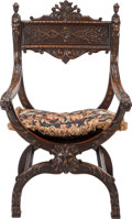 Furniture , A RENAISSANCE REVIVAL WALNUT ARMCHAIR, late 19th century. 40 x 24 x 20-1/2 inches (101.6 x 61.0 x 52.1 cm). PROPERTY FROM ...