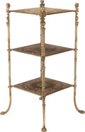 Furniture , A LOUIS XVI-STYLE CAST BRASS THREE-TIER SIDE TABLE, 20th century. 30-1/2 x 14 x 14 inches (77.5 x 35.6 x 35.6 cm). PROPERT...