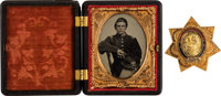 Civil War Gold ID Badge, Accompanied by Identified Ambrotype of Calvin Montague, 2nd Michigan Infantry