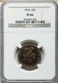 Proof Barber Quarters, 1914 25C PR66 NGC....