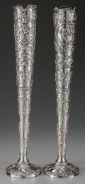 Silver Holloware, Continental, A PAIR OF TALL LOUIS XV-STYLE SILVER WEIGHTED VASES. Marks:800, (effaced mark). 24 inches high (61.0 cm). ... (Total: 2Items)