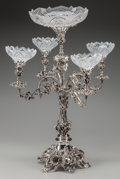 Silver Holloware, British, A LARGE ELKINGTON SILVER-PLATED AND CUT-GLASS EPERGNE, Birmingham,England, circa 1880. 26-3/4 x 20 x 20 inches (67.9 x 50.8...