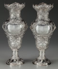 Silver Holloware, Continental, A PAIR OF LOUIS XV-STYLE SILVER VASES. Marks: RC 925. 16-1/2inches high (41.9 cm). 72.18 troy ounces. ... (Total: 2 Items)
