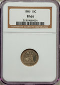 Proof Seated Dimes: , 1886 10C PR64 NGC. NGC Census: (77/100). PCGS Population (70/65). Mintage: 886. Numismedia Wsl. Price for problem free NGC/...