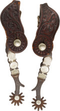 Western Expansion:Cowboy, Pair of Single Mounted Spurs by McChesney....