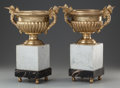 Decorative Arts, French, A PAIR OF EMPIRE-STYLE GILT BRONZE AND MARBLE URNS, 20th century.15-3/4 x 11-3/4 x 9 inches (40.0 x 29.8 x 22.9 cm). ... (Total: 2Items)