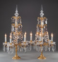 Decorative Arts, French, A PAIR OF BACCARAT-STYLE GILT BRONZE AND CUT-GLASS FIVE-LIGHTLAMPS, 20th century. 30-3/4 inches high (78.1 cm). ... (Total: 2Items)