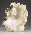Marble:European, A Female in Profile. . G. Pochini, Italian . 19th Century.Marble and bronze. 18.75 inches high, 14.5 inches wide. S...