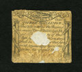 Colonial Notes:Massachusetts, Massachusetts October 18, 1776 3s Good. This rare note has acentral hole plus a smaller hole and an edge notch. It also has...
