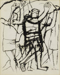 Fine Art - Painting, American:Contemporary   (1950 to present)  , BEN SHAHN (American 1898-1969). TITLE. Ink on paper. 11-1/2x 9 inches (29.2 x 22.9 cm). Signed on one side at lower rig...
