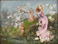Paintings, Attributed to EMILE AUGUSTE PINCHART (French 1842-1924). Untitled, Allegory of Spring. Oil on artists' board. 10-3/4 x 1...